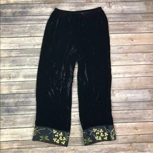 Johnny Was Velvet Silk Embroidered Palazzo Pants